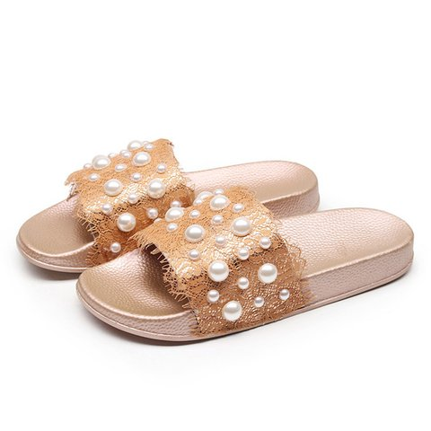 Pearls Detail Lace Flat Slippers
