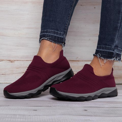 Women's Flyknit Breathable Sneakers Slip On Shoes