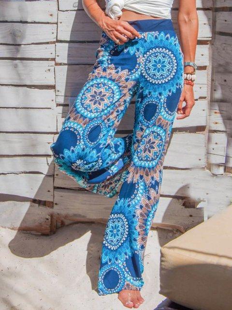 Boho Cotton-Blend Printed Pants