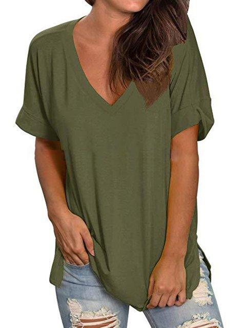 V Neck Short Sleeve Plain Shirts