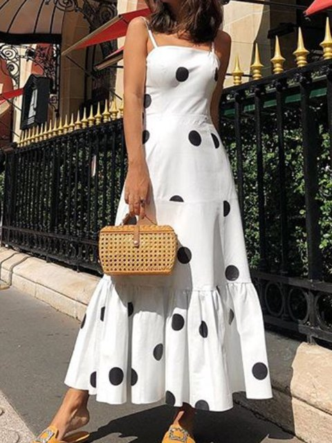 Square Neck Women Summer Dresses Swing Holiday Cotton Polka Dots Dresses