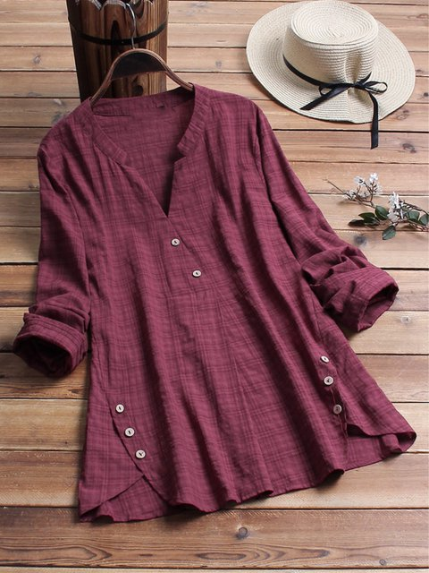 Casual Long Sleeve Checkered V-neck Shirt