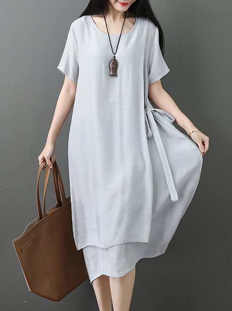 Crew Neck Women Dresses Shift Daytime Bow Dresses