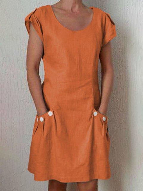 Crew Neck Women Dresses Shift Daily Buttoned Dresses
