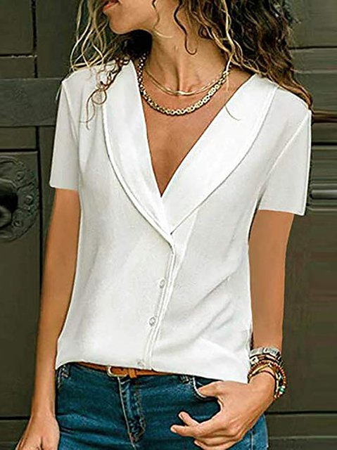 V-neck Buttoned Blouse Solid Shirts
