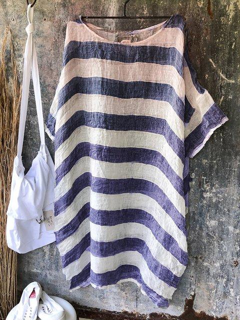 Gauze Linen Shift Stripes 3/4 Sleeve Midi Dress