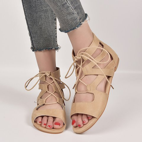 c89ad101db7c Justfashionnow Sandals Brown Zipper Peep Toe Flat Heel Sandals