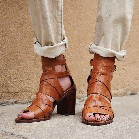 Comfortable Heel Sandals Pu Peep Toe Buckle Sandals