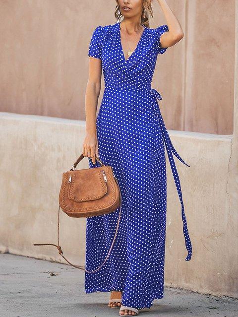 V-Neck Split-Fork Dress