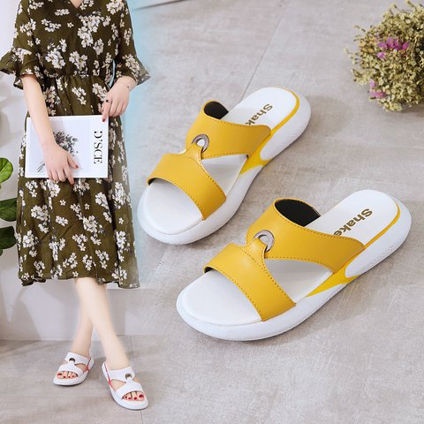 Comfy Sole Flat Peep Toe Slip-On All Season Sandals