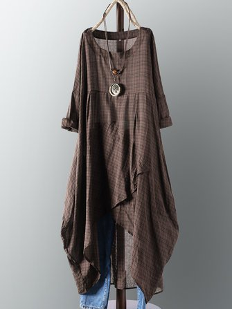 Vintage Asymmetric 3/4 Sleeve Crew Neck Plus Size Dress