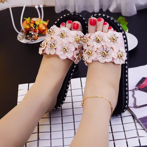 Summer Flowers Imitation Pearl Slippers