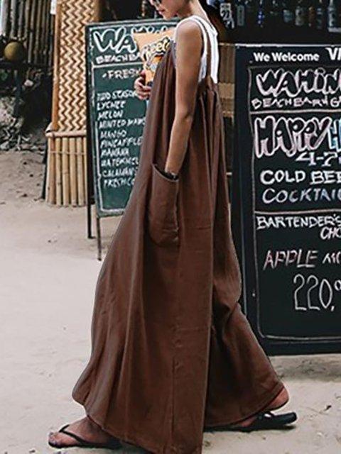 Brown Pockets Linen Sleeveless Jumpsuit
