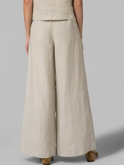 Solid Basic Casual Loose Plain Pants