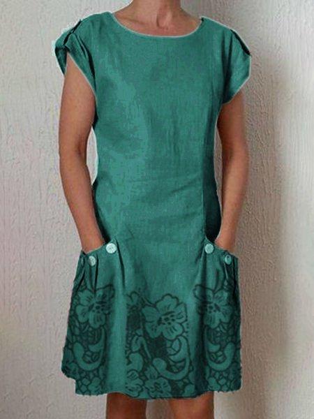 Simple & Basic Round Neck Pockets Short Sleeve Dresses