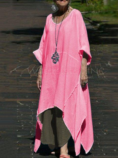 Cotton-Blend Half Sleeve Casual Dresses