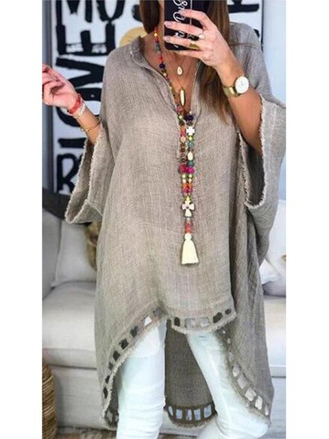 V Neck Sweet Cotton Solid Blouses