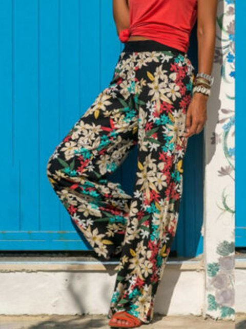Floral Print Casual Plus Size Loose Vacation Pants