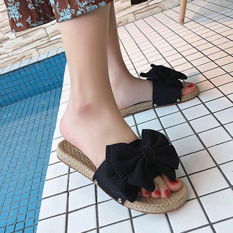 Flat Heel Bowknot Slippers