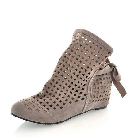 Breathable Hollow-out Wedge Heel Casual Suede Boots