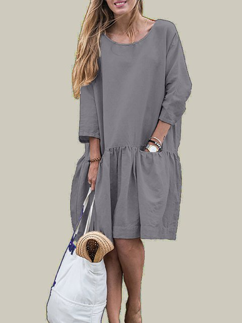 602fc1264c89 Casual 3/4 Sleeve Crew Neck Flounce Solid Dress - JustFashionNow.com