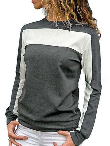 Geometric Color-block Cotton Basic Plus Size T-Shirt