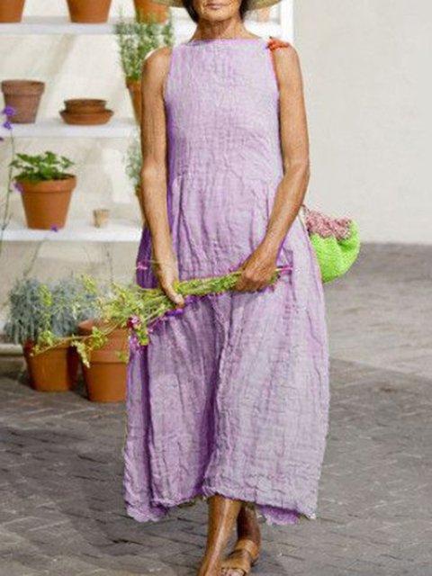 Summer Crew Neck Casual Cotton-Blend Sleeveless Solid Linen Dresses