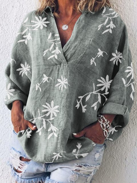 Casual V Neck Long Sleeve  Floral  Printed Blouse