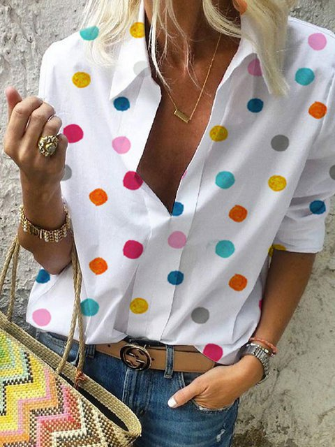 Long Sleeve Polka Dots Floral-Print Casual Shirts & Tops