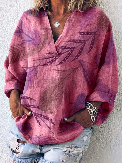 Long Sleeve Floral Cotton Blouses