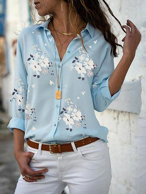 Floral Long Sleeve Shirts Plus Size Tops