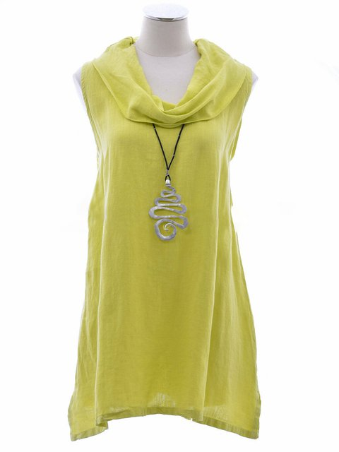 Summer Cowl Neck Sleeveless Solid Casual Tops
