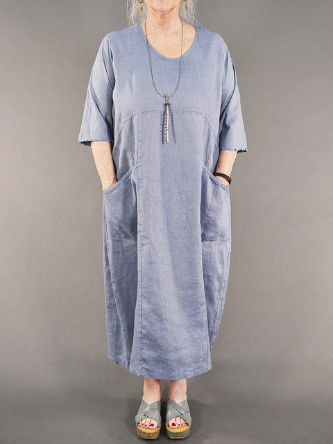 Crew Neck Light Blue Women Dresses Going Out Casual Pockets Dresses