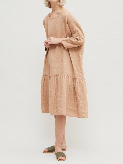 Crew Neck Women Dresses Casual Linen Dresses