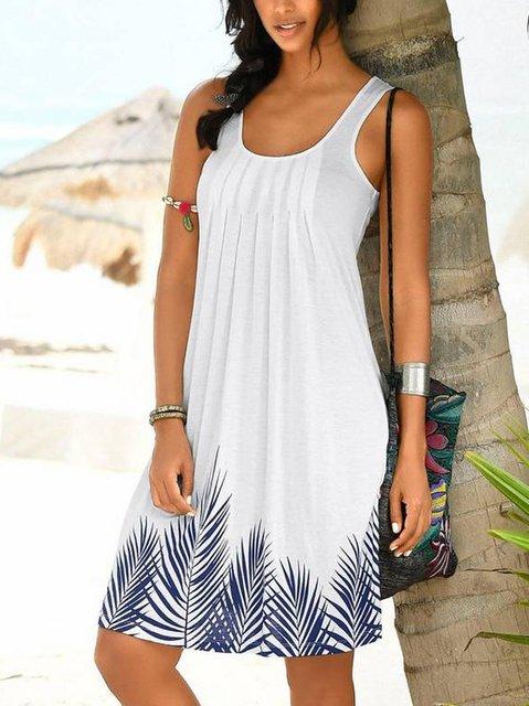Crew Neck White Women Summer Dresses A-Line Dresses