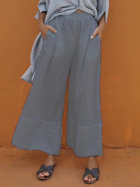 Pockets Paneled Solid Summer Casual Pants