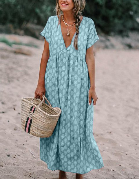 Plus Size Printed V Neck Shift Casual Floral Maxi Dresses