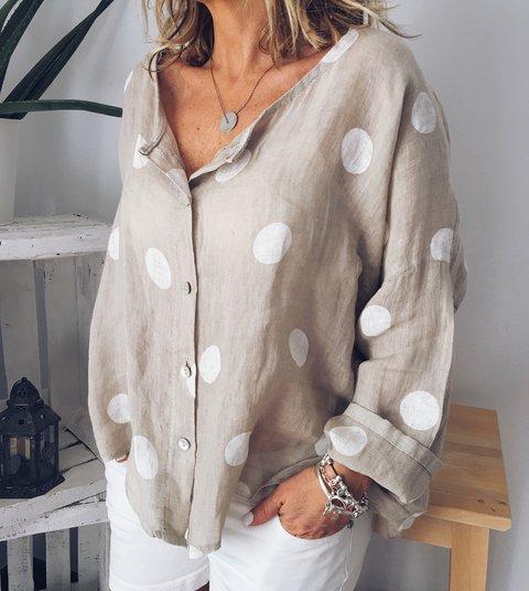 Summer Polka Dots Floral-Print Long Sleeve V Neck Cotton Tops