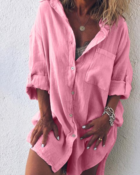 Summer Women Plus Size Casual V Neck Long Sleeve Solid Dresses With Buttoned Pockets