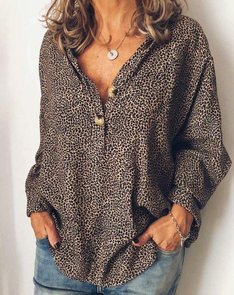 Women Leopard Print Buttoned Casual Cotton-Blend Long Sleeve Blouses