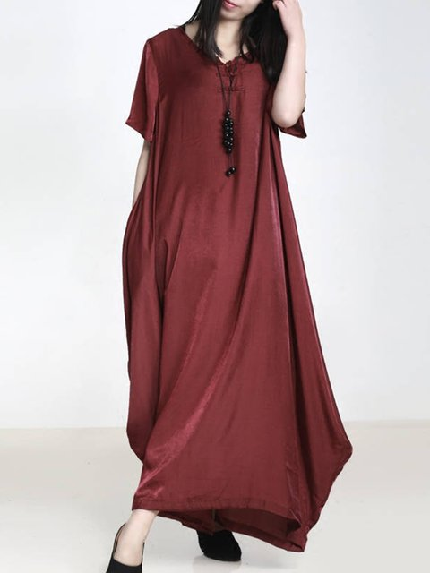 Asymmetrical V Neck Daily Solid Holiday Tunic Dresses