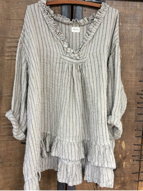 Sweet Long Sleeve V Neck Asymmetrical Shirts & Tops