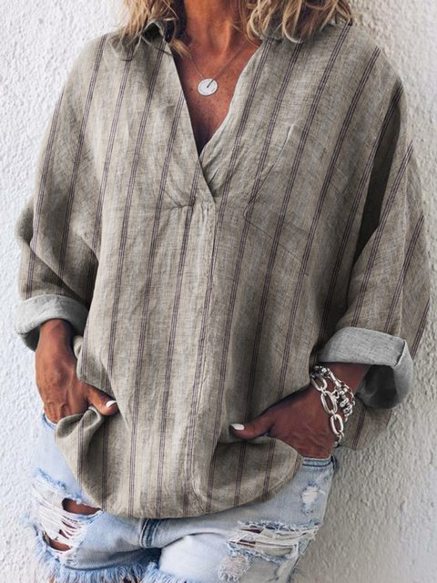 Stripes Casual Cotton Shirts & Tops