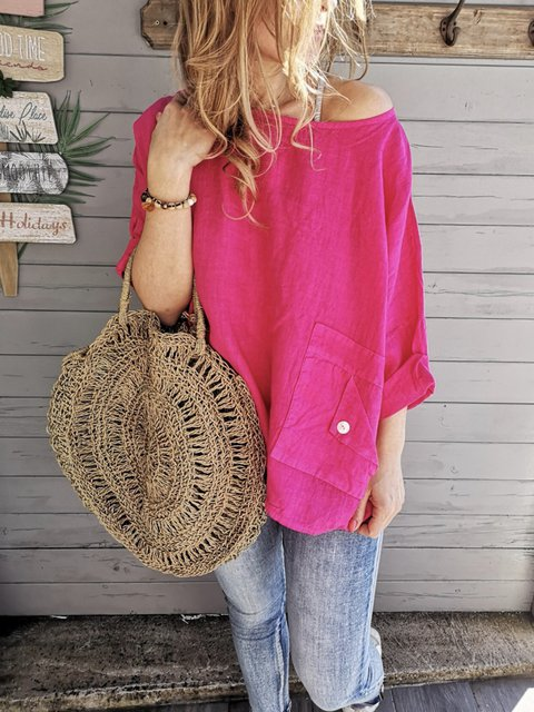 Casual Solid Long Sleeve Pocket Blouse