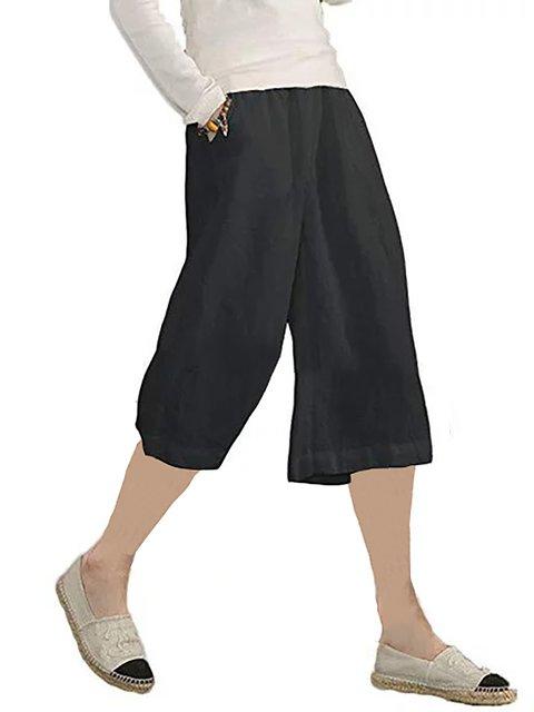 Women Plus Size Casual Solid Pockets Pants Middle Short Pants