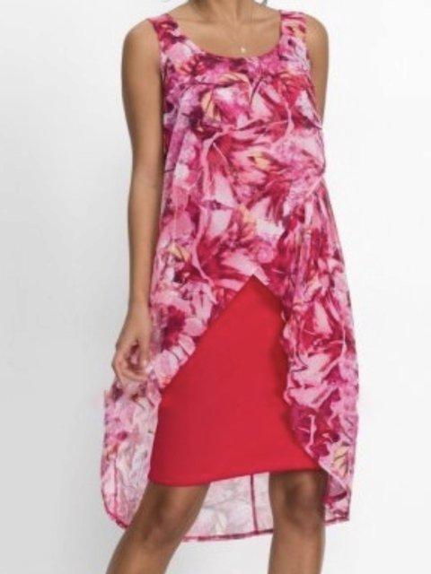 Asymmetrical Crew Neck Daily Floral Dresses