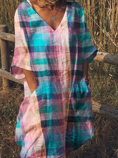 V Neck Women Dresses Shift Daily Cotton-Blend Checkered/Plaid Dresses