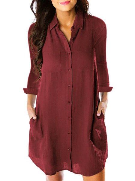 Shirt Collar  Shift Women Cotton Casual Long Sleeve Pockets Spring Dress