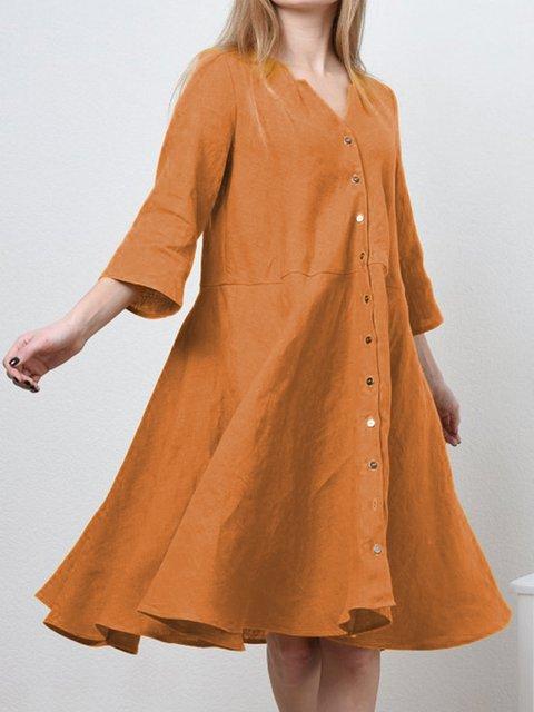 V Neck Women Dresses Going Out Cotton Buttoned Dresses