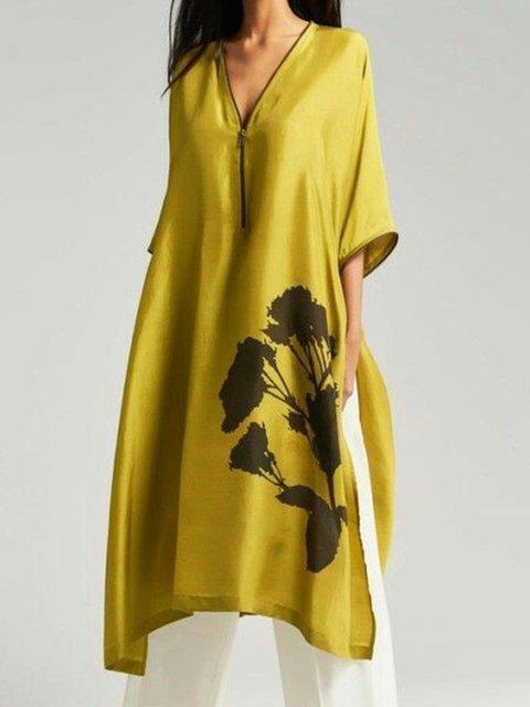 V Neck Summer Women 3/4 Sleeve Floral Dresses Floral-Print Dresses